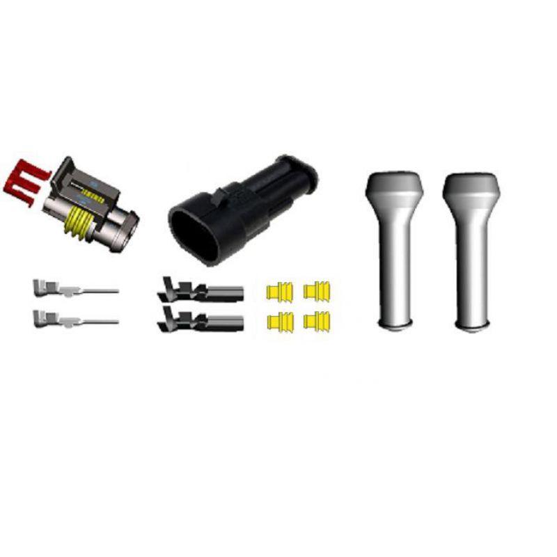 AMP Superseal SET Buchse/Stecker, 2-polig, bis 1,5 mm², kompl., gelb