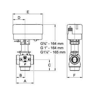 "LK525 3-Wege Zonenventil Solar mit Motor 1"""