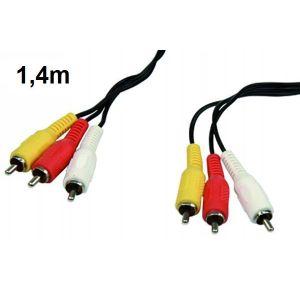 AV-Verbindungskabel, 3x Cinch Stecker auf 3xCinch Stecker Länge 1,4m