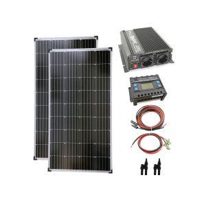 Komplettset 2x130 Watt Solarmodul 1000 Watt Wandler Laderegler Photovoltaik Inselanlage