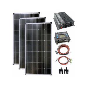 Komplettset 3x130 Watt Solarmodul 1500 Watt Wandler Laderegler Photovoltaik Inselanlage