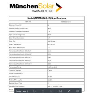 Solarmodul 30 Watt 12V Monokristallin in Schwarz