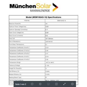 Solarmodul 100 Watt Monokristallin in Schwarz