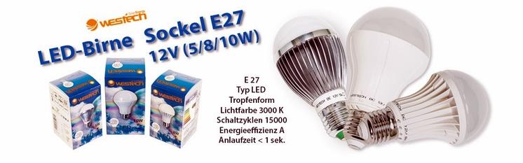 LED-Birnen Sockel E27 12V